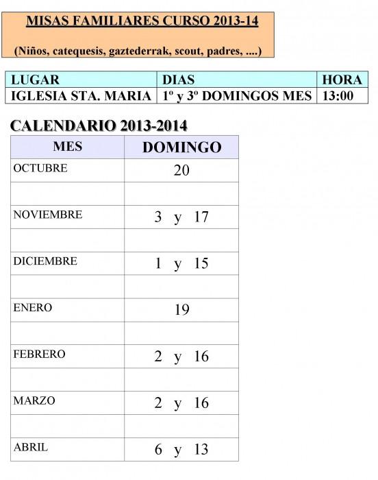 MISAS FAMILIARES CURSO 2013-2014